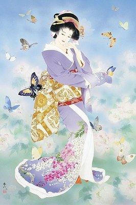 ししゅう糸 DMC糸 クロスステッチ刺繍キット 布地に図柄印刷 日本芸妓II蝶々 B015H0V4FW