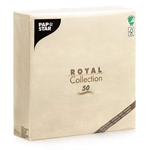Papstar Cloth Like Paper Dinner Napkins, 20x20 XL size, 50 Pack, 5 Different Color options (Cream / Ivory / Champagne / Gold)