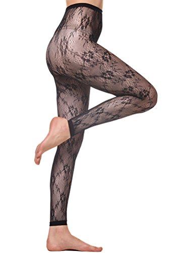 Florboom Stylish Jacquard Patterned Pantyhose Footless Fishnet Tights for Womens