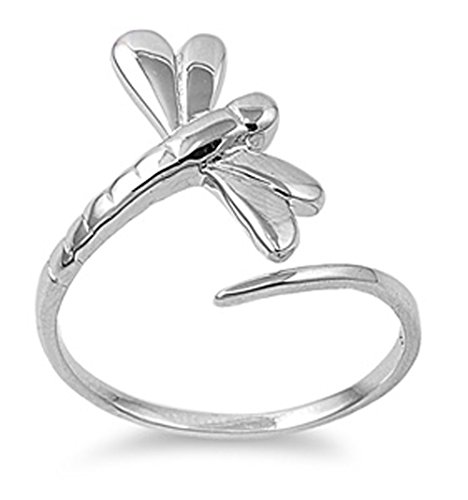 (Sterling Silver Women's Simple Dragonfly Ring Classic 925 Band 19mm Size 7)