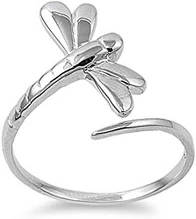 CHOOSE YOUR COLOR Sterling Silver Dragonfly Ring