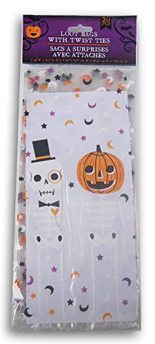 Skeleton Cello Treat Bags - Spooky Town Halloween Themed Skeletons Loot