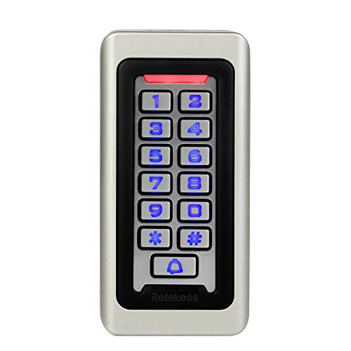 (TIVDIO Retekess Access Control Keypad RFID Stand Alone Keypad Waterproof IP68 Metal Case Single Door Up to 2000 Users 4 Digits for Outdoor Indoor Wiegand)