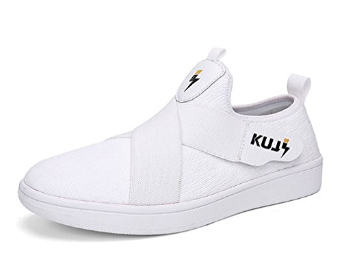 (MT-SOULSFENG Womens White Free Knit Mesh Slip-on Leisure Sneakers with Vecro Straps 5.5 US)