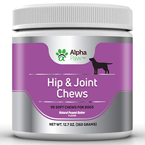 Alpha Paw Dog Glucosamine, Hip and Joint Support for Dogs with Glucosamine, Chondroitin, Turmeric, MSM, Collagen - Arthritis Pain Relief, Anti-Inflammation - 360 Grams Approx. 90 Soft Chews