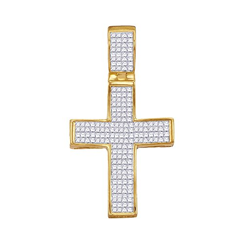 Roy Rose Jewelry 10K Yellow Gold Mens Princess Diamond Christian Cross Charm Pendant 1-1/2 Carat tw (Rose Diamond Setting Invisible Pendant)