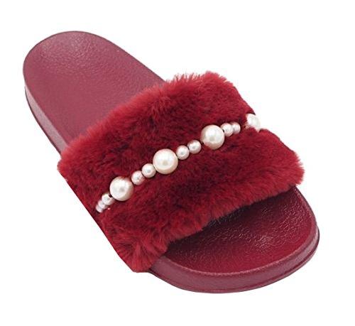 SHU CRAZY Womens Ladies Faux Fur Pearl Flat Slip On Holiday Summer Beach Fashion Slider Shoes - K63 Burgundy HzhlDL