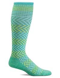 Sockewell Women's Chevron Graduated Compression Socks, Spearmint, Small/Medium