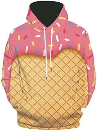 Mens Hoodies Loose 3D Printing Cartoon Funny French Fries Burger Drink Autumn Long Sleeve Sweatshirt