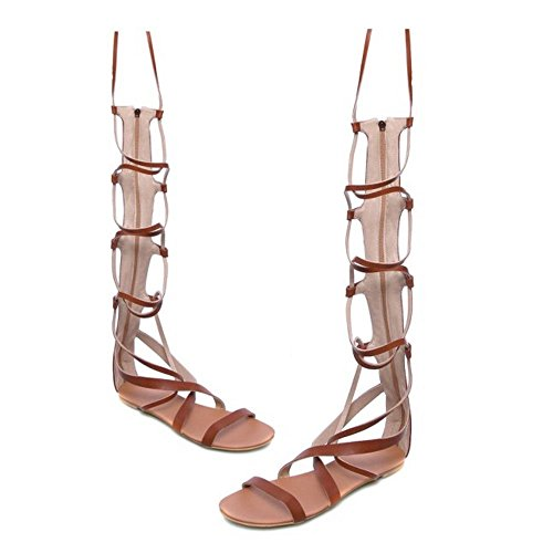 COOLCEPT Hot Sale Moda Mujer Cordones Knee High Gladiator Tacon de Vaquero Sandalias with Cremalleras 1172 Marron
