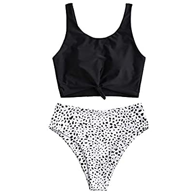 ZAFUL Women's Scoop Neck Tropical Leaf Knotted Two Pieces Tankini Set Swimsuit: Clothing
