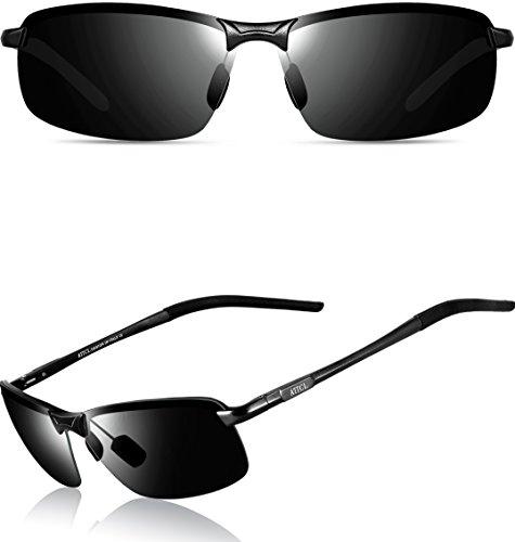 ATTCL Mens Ultralight Al Mg Frame Driving Polarized Rectangular Sunglasses Al-Mg Metal Frame Ultra Light