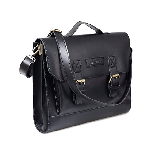 Faux Leather Briefcase (JAKAGO Retro PU Leather Laptop Briefcase Men Women Messenger Bag Shoulder Bag Laptop Bag Satchel for 11 Inch 12 Inch 13 Inch 13.3 inch Laptop and Macbook Air pro 11/12/13 inch (Black))