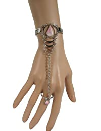 TFJ Women Bracelet Silver Metal Hand Chain Vintage Fashion Ethnic Jewelry Pink Drop Bead Slave Ring