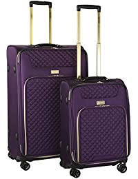 2 Piece Twill Luggage Set, Purple with Gold Color Option