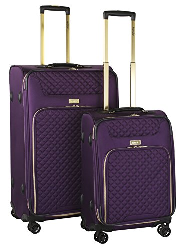 kensie 2 Piece Twill Luggage Set, Purple with Gold Color Option by kensie