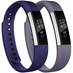Fundro Replacement Bands Compatible with fitbit Alta and Alta HR , Newest Sport Strap Wristband with Secure Buckle for Women Men(2- Pack)