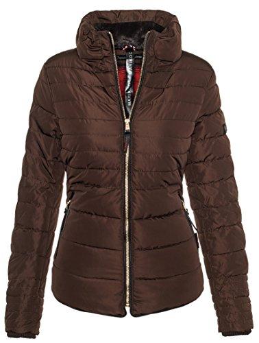 Marikoo B354 Chaqueta plumífero de invierno para mujer, cuello alto Chocolate