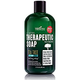 TheraTree Tea Tree Oil Soap with Neem Oil - 12oz - Helps Skin Irritation, Body Odor, Helps Restore Healthy Complexion for Body and Face by Oleavine TheraTree 4 ORGANIC & NATURAL INGREDIENTS (NO HARMFUL CHEMICALS!!!) NO Chemical Preservatives, Thickeners, Detergents, Petroleum, Silicone, Synthetic Fragrance or Dyes. CONCENTRATED VALUE SIZE - Rich Foaming Action and Concentrated Liquid Solution Formula Means a Little Goes a Long Way. Gentle Enough for Daily Use. Ideal for Athletes. Soothing Body Wash For Men and Women. COMPLEXION CONTROL - Helps Wash Away Dirt, Impurities, & Make-up from Skin Surface and Pores. Helps Revitalize Your Skin.