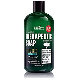 TheraTree Tea Tree Oil Soap with Neem Oil - 12oz - Helps Skin Irritation, Body Odor, Helps Restore Healthy Complexion for Body and Face by Oleavine TheraTree 17 ORGANIC & NATURAL INGREDIENTS (NO HARMFUL CHEMICALS!!!) NO Chemical Preservatives, Thickeners, Detergents, Petroleum, Silicone, Synthetic Fragrance or Dyes. CONCENTRATED VALUE SIZE - Rich Foaming Action and Concentrated Liquid Solution Formula Means a Little Goes a Long Way. Gentle Enough for Daily Use. Ideal for Athletes. Soothing Body Wash For Men and Women. COMPLEXION CONTROL - Helps Wash Away Dirt, Impurities, & Make-up from Skin Surface and Pores. Helps Revitalize Your Skin.