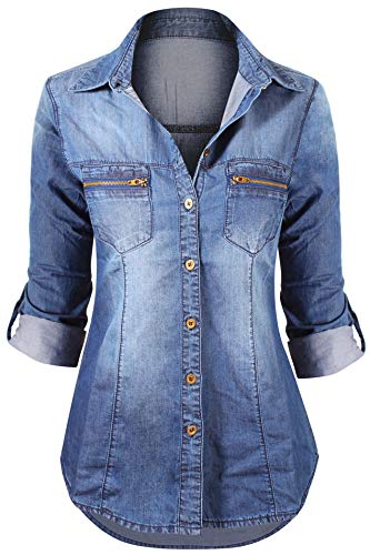 HOT FROM HOLLYWOOD Women's Lace up Denim Shirt with Pockets