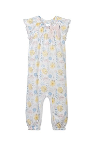 lothes Pima Cotton Short Sleeve Bow One-Piece Jumpsuit Baby Romper, 6-9 Months, Mazie-Blue on White ()