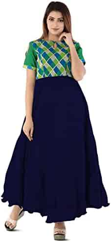 71bed8e3639a Utsav Fashion Printed Yoke Dupion Silk Circular Gown in Navy Blue and Green