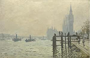 Perfect effect Canvas ,the Best Price Art Decorative Canvas Prints of oil painting 'The Thames below Westminster, 1871 By Claude Monet', 16x25 inch / 41x63 cm is best for Gym gallery art and Home artwork and Gifts