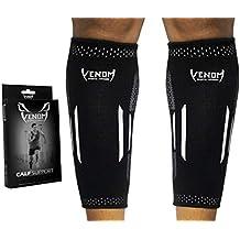 Venom Calf Brace Compression Sleeves (Pair) - Elastic Support Socks for Pain Relief, Strain, Sprain, Shin Splints, Muscle Tear, Cramps, Running, Basketball, Football, Soccer, Men, Women