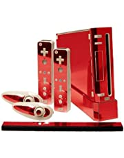 Red Chrome Mirror Vinyl Decal Faceplate Mod Skin Kit for Nintendo Wii Console by System Skins