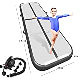 Playieer 9.84ft/13ft/16.4ft/19.69ft/23ft/26ft/29ft/33ft/36ft/39ft Air Track Tumbling Mat for Gymnastics Inflatable Airtrack Floor Mats with Electric Air Pump for Home Use