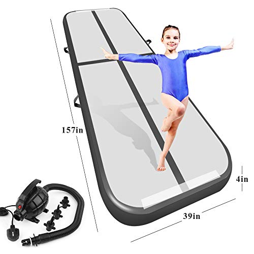 (Playieer 9.84ft/13ft/16.4ft/19.69ft/23ft/26ft/29ft/33ft/36ft/39ft Air Track Tumbling Mat for Gymnastics Inflatable Airtrack Floor Mats with Electric Air Pump for Home Use Cheer Training (Black, 13))