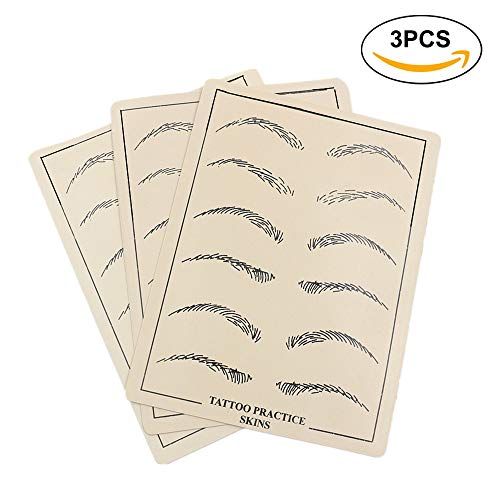 Microblading Practice Skin - Yuelong 3PCS Tattoo Practice Skin for Eyebrow, Permanent Makeup Eyebrows Skin, Realistic Double-Sided Tattoo Skin Practice for Tattoo Supplies,Microblading Supplies