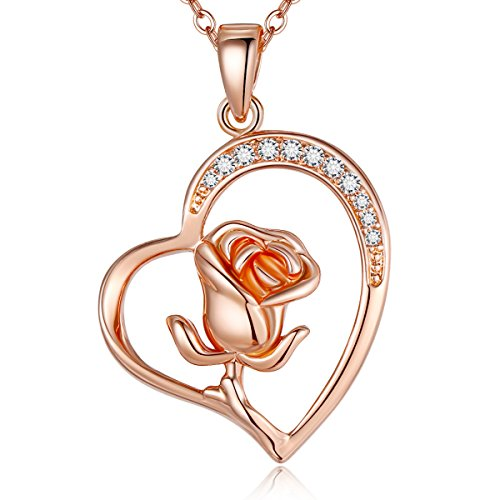 Lateefah Rose Gold Pendant Heart Necklace - Hypoallergenic Women CZ Flower Open Heart Necklace for Mom and Girlfriend ...