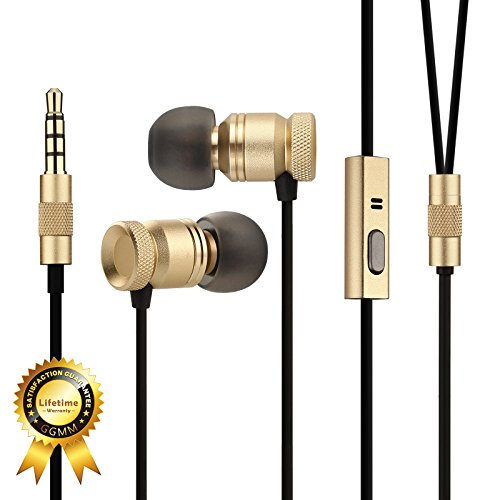 GGMM Nightingale Deep Heavy Bass In-Ear Noise-Isolating Earbuds Headphone w/ Full Metal Housing Dynamic Dual Drivers, Universal 1-Button Remote & Microphone, Lifetime Hassle Free Warranty (Gold)
