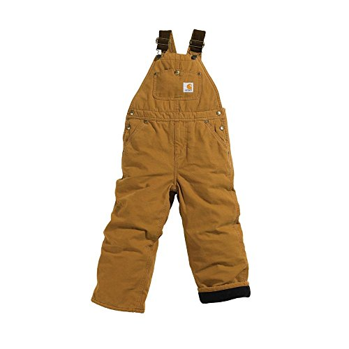 Carhartt Big Boys' Washed Duck Bib Pocket Pant, Carhartt Brown, 10