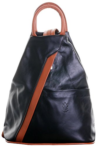 Italian Soft Napa Black & Tan Leather Top Handle Shoulder Bag Rucksack Backpack. Includes Branded Protective Storage Bag