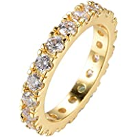 Promsup 3MM AAA White Zircon Ring Wedding Band 10KT Yellow Gold Filled Jewelry Size 6-10 (9)