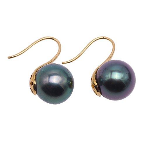 - JYX 18K Gold Hook Earring 9mm Peacock Green Round Tahitian Seawater Cultured Pearl Drop Earrings