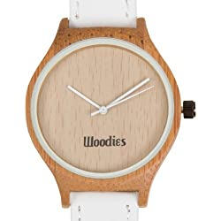 WOODIES White Rimmed Bamboo Wood Watch with White Leather Strap for Men and Women in Minimalist Design, Model: , Hand/Wrist Watch Store