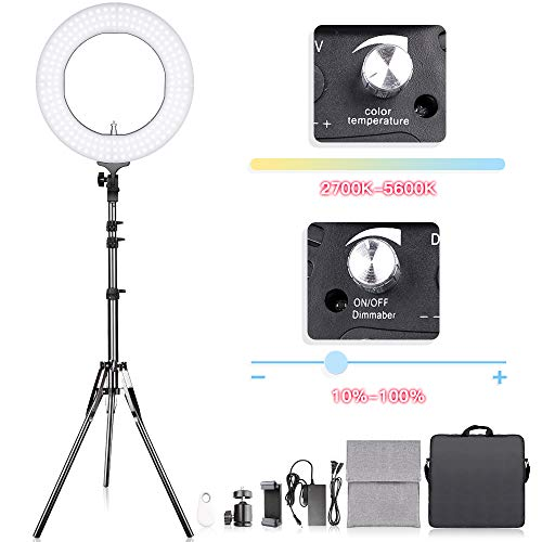 Adjustable 2700-5500K Color Temperature Ring Light, SAMTIAN 14 inches Outer YouTube Light Dimmable SMD LED Makeup Light with 2M Light Stand, Phone Holder for Video Shooting, YouTube Video, Portraiture