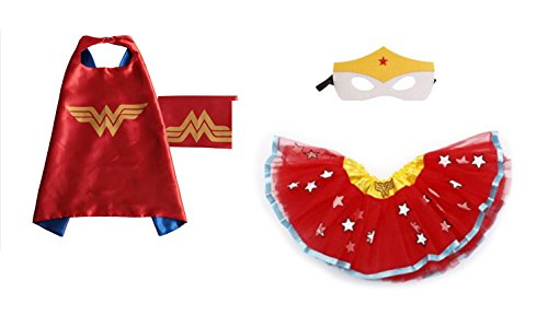 Rush Dance Kids Children's Deluxe Comics Super Hero CAPE & MASK & TUTU Costume (Wonder Woman (Wonderwoman (Batman Costume Sydney)