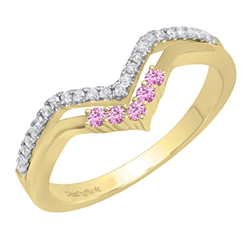 - Dazzlingrock Collection 14K Round Pink Sapphire & Diamond Ladies Five Stone Chevron Wedding Band, Yellow Gold, Size 7.5