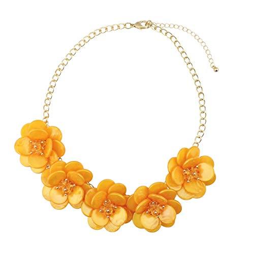 (Bocar stetement Choker Flower Necklace for Women Gift (NK-10281-yellow))
