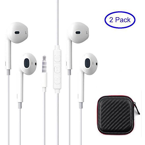 2Pack Pro-A Earphone/Earbuds 3.5mm Jack with Mic and Remote For Smart Phone Android Tablet PC And Other Compatible Devices Carrying Case Included (WHITE)
