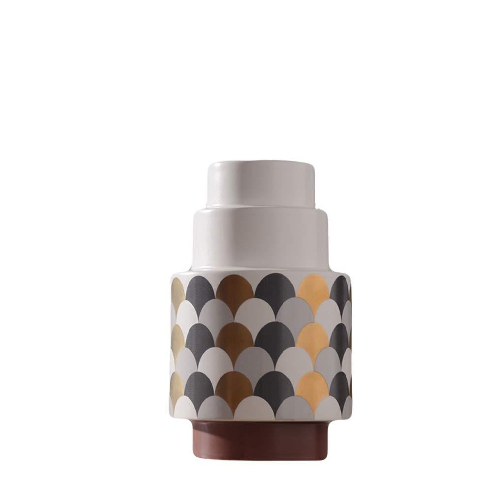 花瓶現代のシンプルなセラミック花瓶装飾ドライフラワーアレンジメントフロアクリエイティブセラミック花瓶サンプル柔らかい装飾 LQX (Size : S) B07SKGQ74S  Small