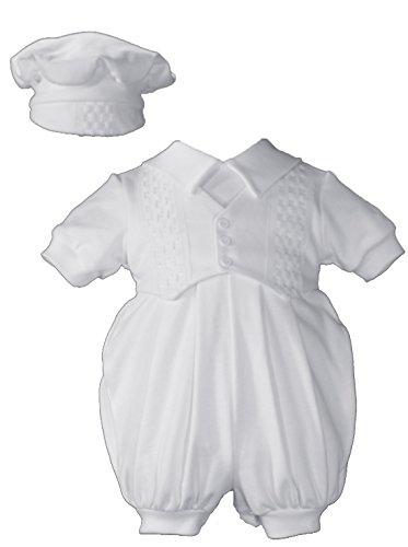 Hat Windowpane Cap (Short White Boys Celebration Christening Baptism Set with Hat, NB)