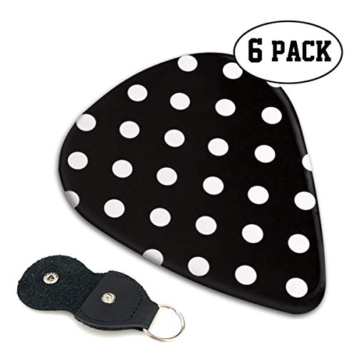 (Nice Music Duchess Black White Polka Dot Ultra Thin 0.46 Med 0.71 Thick 0.96mm 4 Pieces Each Base Prime Celluloid Ivory Jazz Mandolin Bass Ukelele Plectrum Guitar Pick Pouch Display)