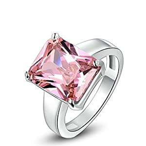 Epinki Fashion Jewellry Platinum Plated Womens Wedding Ring Rectangular Pink Crystal White Gold Size 5
