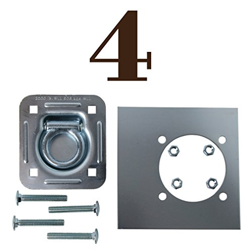 Recessed Tie Downs - Four Recessed Tie-Down D Rings, Square Trailer Cargo Tiedown Anchors, Mounting Lock Plate + Installation Bolting Hardware Accessories - Carriage Bolts, Hex Nuts, Flat Washers